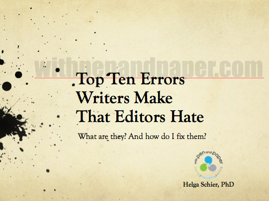 Top 10 Errors Writers Make That Editors Hate