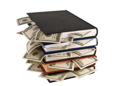 Dollars in the books, isolated on white background, business training.