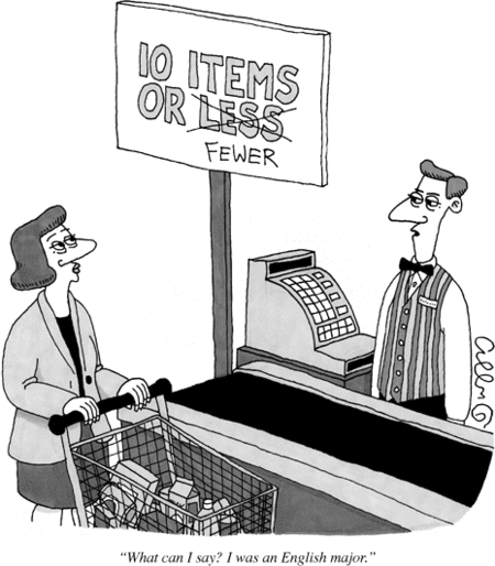Everything you know is a lie - the fast checkout line at your store uses incorrect grammar.
