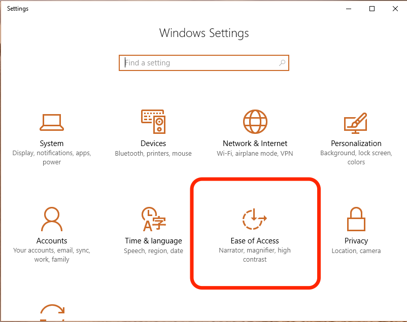 Windows Ease of Access Settings