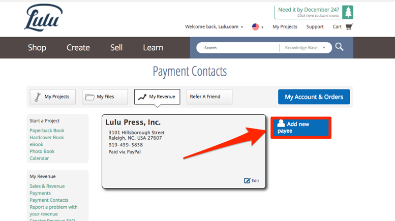 Payment Contacts, add new Payee
