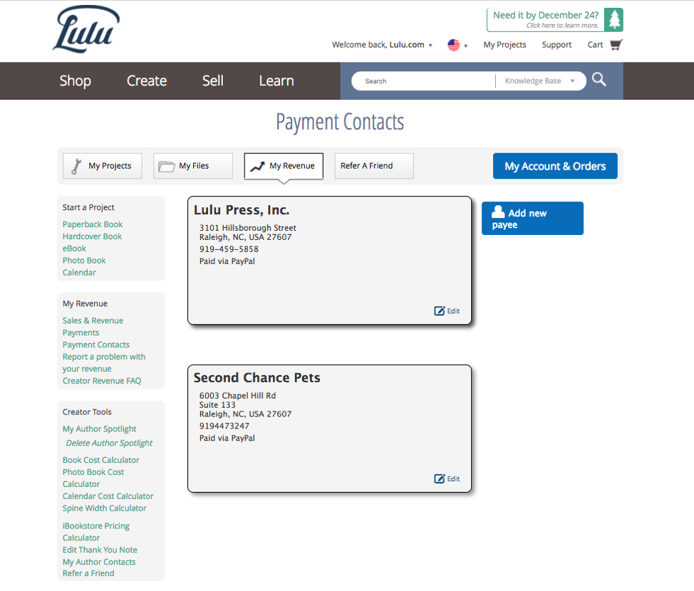 Payment Contacts completed
