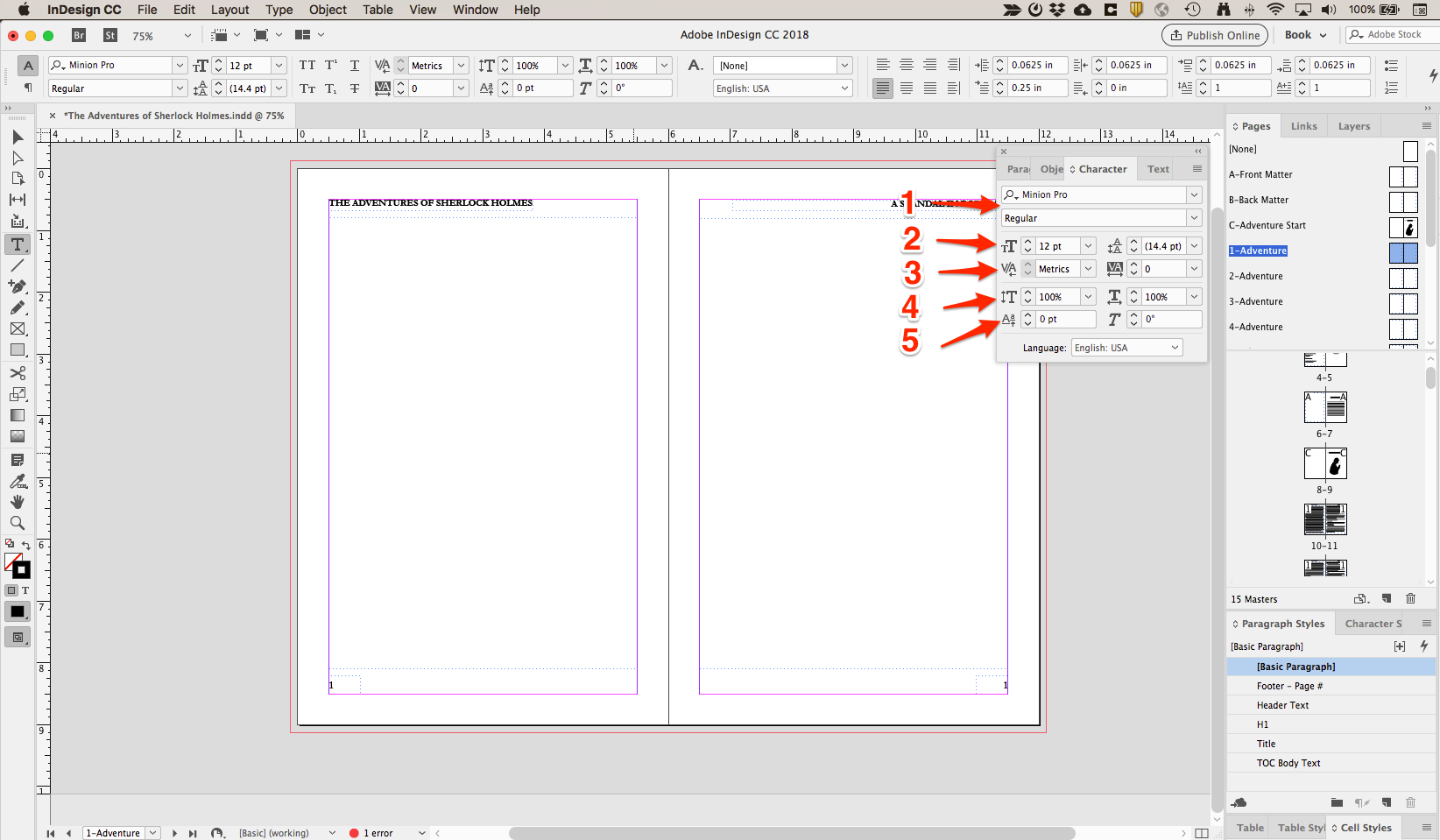 InDesign Character Toolbox options