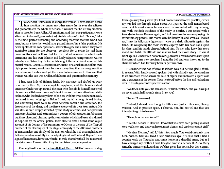 Pages of text in InDesign with 14.4 point leading