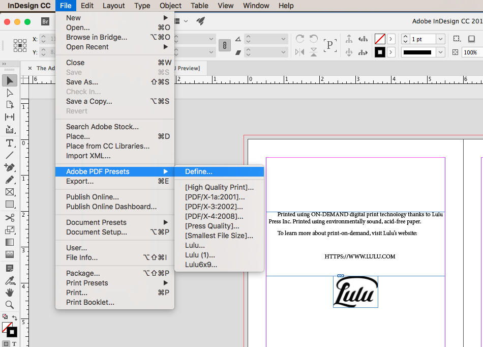 Using the InDesign File menu to define PDF export Presets