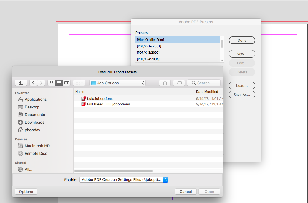 Applying Lulu's Full Bleed job options to InDesign's PDF export presets