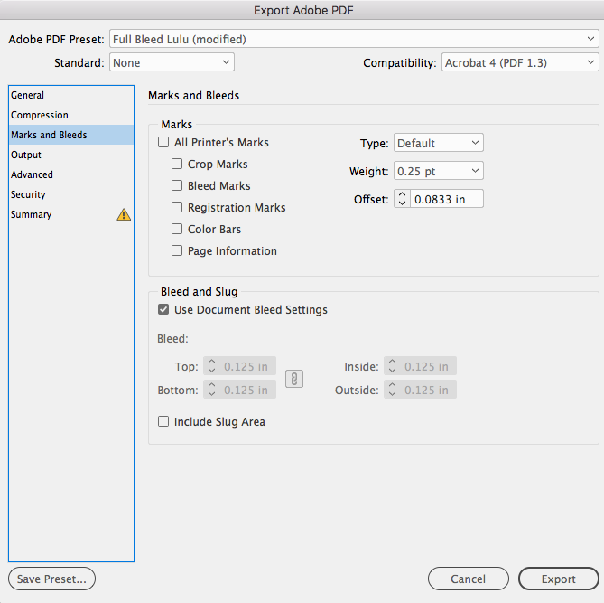 Adobe InDesign PDF export Bleed and Marks settings