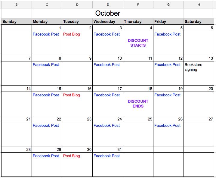 Template for a holiday marketing calendar