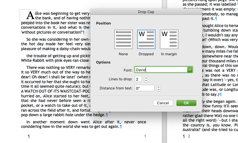 MS Word Drop Cap menu with options for creating a Drop Cap