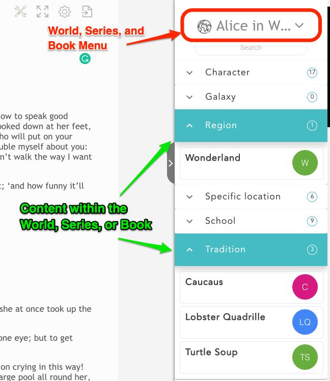 Story Shop Writer App World Bar features