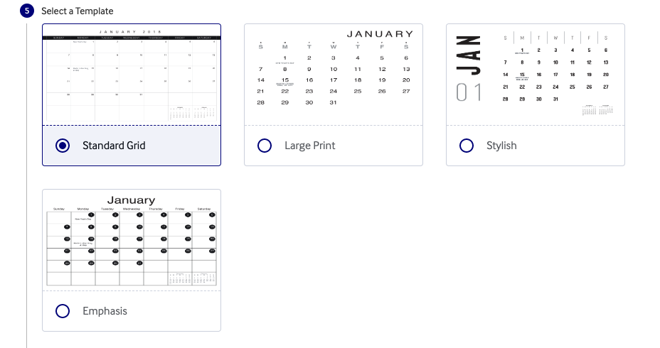 Lulu xPress Calendar Grid template options