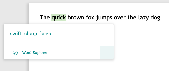ProWritingAid in line word explorer
