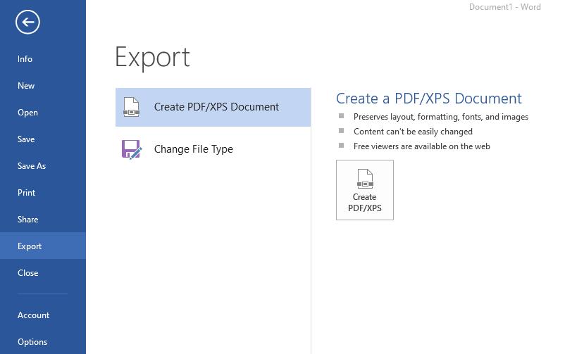 MS Word Export to PDF Menu
