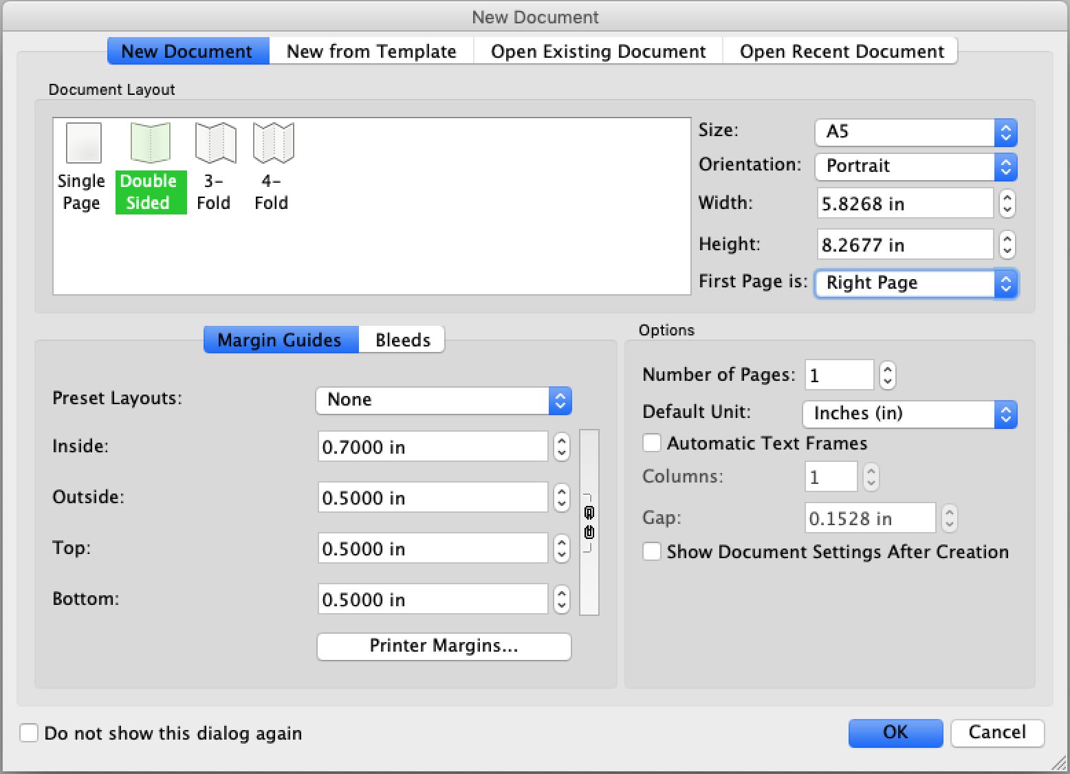 A number of options to customize your pages before you begin publishing with Scribus