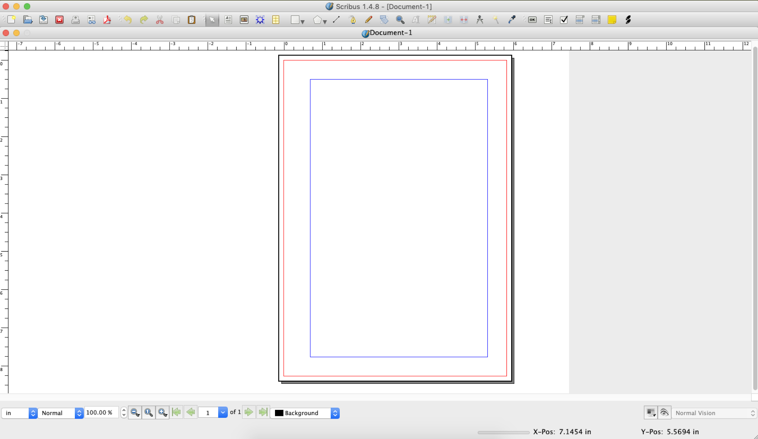A single, blank page in Scribus with no Tool panels displayed
