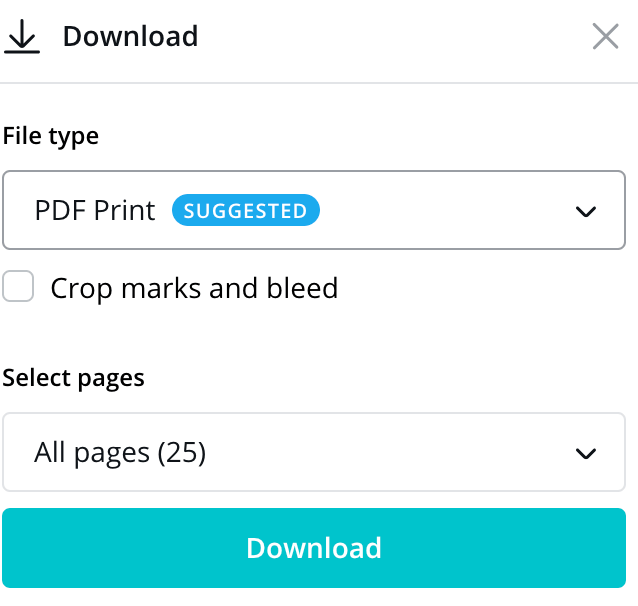 Selecting Print PDF for your Photo Book file