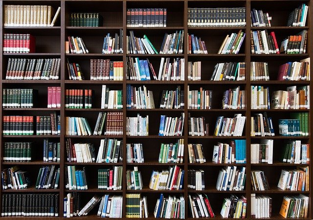 Bookshelf packed with books - stock photo